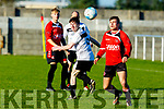Park FC,s Simon Kedzierskiv and Dylan Hoare of Castlegregory Celtic keep their eyes on the ball during their encounter in Christy Healy Park on Sunday