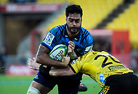 Akira Ioane in action during the Super Rugby match between the Hurricanes and Blues at Westpac Stadium in Wellington, New Zealand on Saturday, 7 July 2018. Photo: Dave Lintott / lintottphoto.co.nz