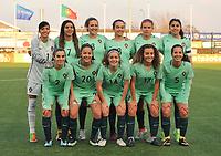 20180326 - VEEN , THE NETHERLANDS : team of Portugal with Carolina Martins (1)   Mariana Rosa (2)   Maria Dias (3)   Barbara Lopes (5)   Daniela Santos (6)   Andreia Jacinto (7)   Ana Albuquerque (8)   Telma Encarnacao (10)   Joana Caiado Vaz Dias (14)   Alicia Figueiredo Lima Correia (17)   Beatriz Cameirao (20)   pictured during the UEFA Women Under 17 Elite round game between The Netherlands WU17 and Portugal WU17, on the second matchday in group 1 of the Uefa Women Under 17 elite round in The Netherlands , monday 26 th March 2018 . PHOTO SPORTPIX.BE    DIRK VUYLSTEKE