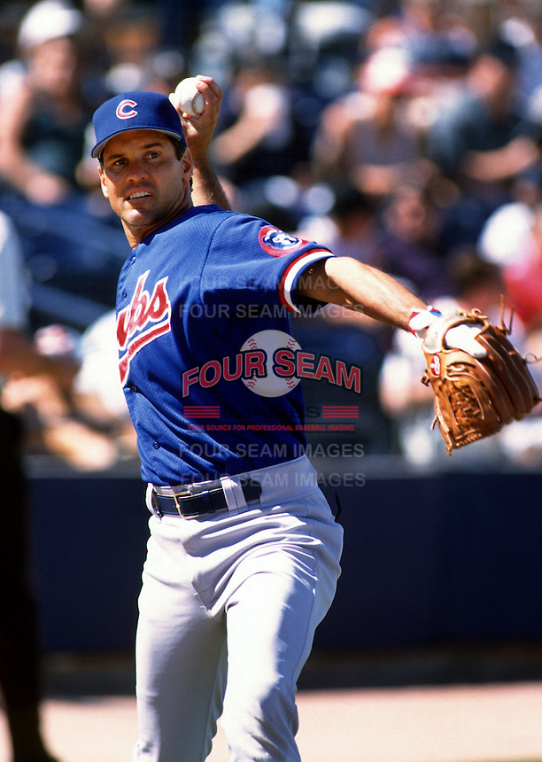 Ryne Sandberg of the Chicago Cubs at HoHoKam Park in Mesa,Arizona during 1996 Spring Training. (Larry Goren/Four Seam Images)
