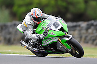 PHILLIP ISLAND, 22 FEBRUARY - Mark Aitchison (AUS) riding the Kawasaki ZX-10R (8) of the Team Pedercini at day two of the testing session prior to round one of the 2011 FIM Superbike World Championship at Phillip Island, Australia. (Photo Sydney Low / syd-low.com)