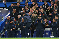 Chelsea Assistant Manager, Jody Morris (front row,far left) celebrates their fourth goal during Chelsea vs AFC Ajax, UEFA Champions League Football at Stamford Bridge on 5th November 2019