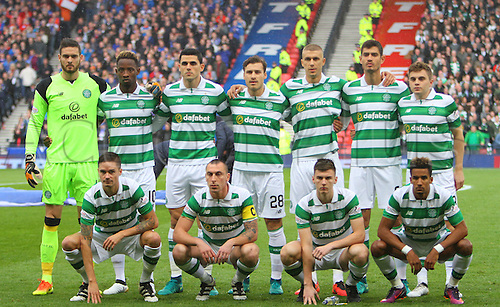 23.10.2016. Hampden Park, Glasgow, Scotland. Betfred Cup Semi Final Football. Rangers versus Celtic. Celtic team lineup prematch
