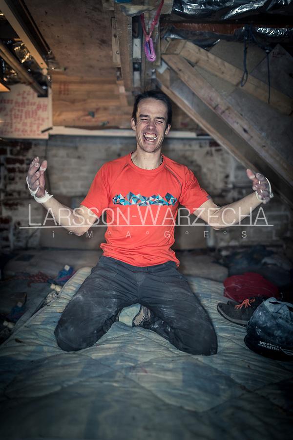 Tom Randall trains at the 'bat cave' cellar  on 6th March 2017, Sheffield, United Kingdom