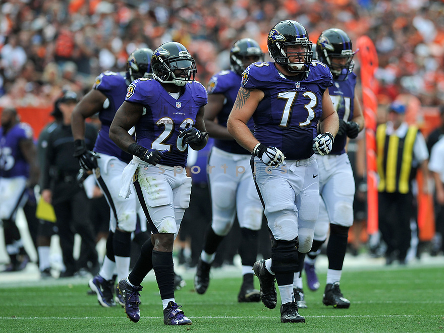 CLEVELAND, OH - JULY 18, 2016: Guard Marshal Yanda #73 of the Baltimore Ravens leads the offense onto the field in the second quarter of a game against the Cleveland Browns on July 18, 2016 at FirstEnergy Stadium in Cleveland, Ohio. Baltimore won 25-20. (Photo by: 2017 Nick Cammett/Diamond Images)  *** Local Caption *** Marshal Yanda(SPORTPICS)