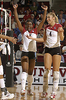 28 October 2005: Njideka Nnamani and Bryn Kehoe during Stanford's 3-0 win over Oregon State in Stanford, CA.