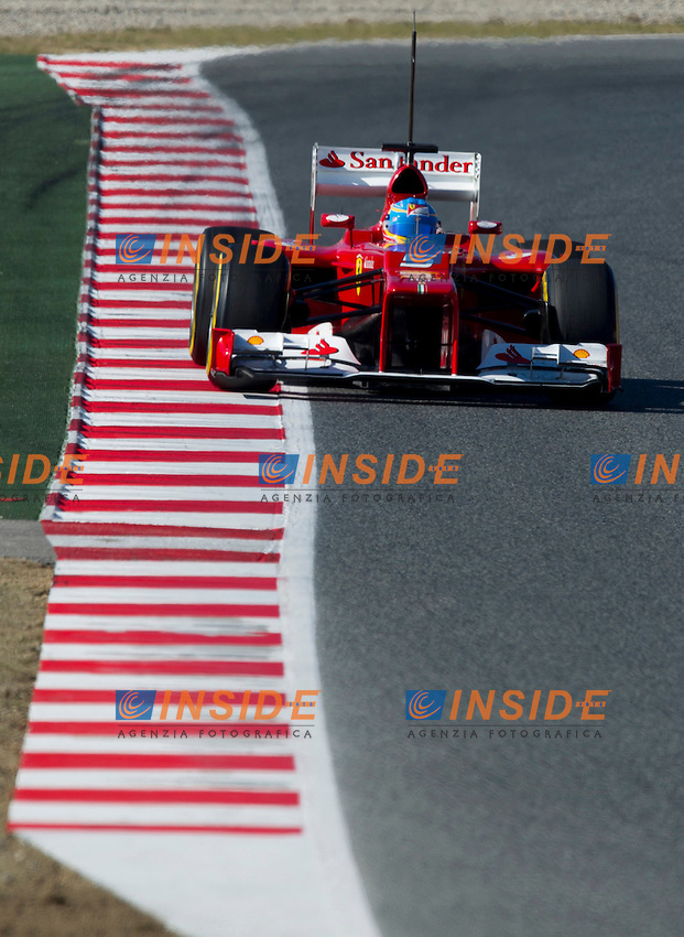 Ferrari Racing's Spanish Fernando Alonso drives his car during the F1 Test days in Montmelo racetrack, Barcelona, 22 February 2012. PHOTO Insidefoto / Alejandro Garcia / Anatomica Press