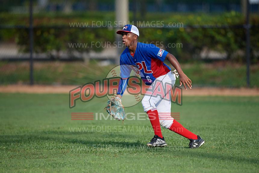 Jefferson De La Cruz (6) during the Dominican Prospect League Elite Florida Event at Pompano Beach Baseball Park on October 14, 2019 in Pompano beach, Florida.  (Mike Janes/Four Seam Images)