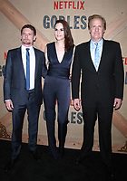 NEW YORK, NY - NOVEMBER 19: Jack O'Connell, Michelle Dockery and Jeff Daniels at the Netflix New York premiere of Godless at Metrograph in New York City on November 19, 2017. Credit: RWMediaPunch /NortePhoto.com