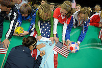 USA fans. US Women's National Team defeated Germany 1-0 at Impuls Arena in Augsburg, Germany on October 29, 2009.
