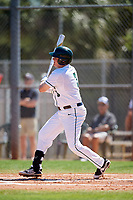 Dartmouth Big Green first baseman Michael Calamari (3) hits a solo home run during a game against the Villanova Wildcats on March 3, 2018 at North Charlotte Regional Park in Port Charlotte, Florida.  Dartmouth defeated Villanova 12-7.  (Mike Janes/Four Seam Images)