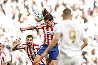 1st February 2020; Estadio Santiago Bernabeu, Madrid, Spain; La Liga Football, Real Madrid versus Atletico de Madrid; Francisco Alarcon, ISCO (Real Madrid)  wins the header from Stefan Savic (Atletico de Madrid)