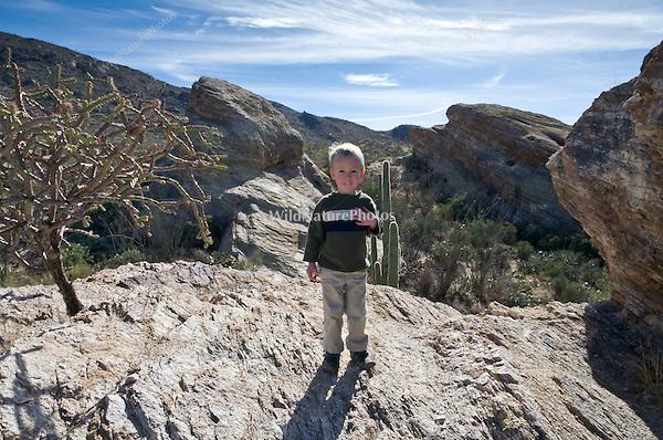 3 year old boy climbing rocks in the Sonoran Desert, Arizona (MR)