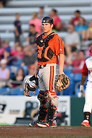 Aberdeen IronBirds catcher Alex Murphy (32) during a game against the Williamsport Crosscutters on August 4, 2014 at Bowman Field in Williamsport, Pennsylvania.  Aberdeen defeated Williamsport 6-3.  (Mike Janes/Four Seam Images)