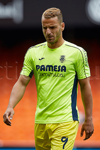 May 21st 2017, Valencia, Spain; La Liga football Valencia CF versus Villarreal CF; Roberto Soldado of Villarreal CF looks on during the warming up session prior to the game;