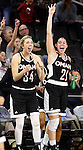 SIOUX FALLS, SD - MARCH 6:  Ellie Brecht #34 and Abi Lujan #21 from University of Omaha celebrate a basket against IUPUI during their game Sunday at the Summit League Championship. (Photo by Dick Carlson/Inertia)