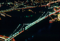 NEW YORK CITY AT NIGHT<br /> Aerial View of Brooklyn Bridge &amp; Manhattan Bridge