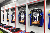 A general view of the Bath Rugby changing rooms. The Clash, Aviva Premiership match, between Bath Rugby and Leicester Tigers on April 8, 2017 at Twickenham Stadium in London, England. Photo by: Patrick Khachfe / Onside Images