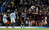 Manchester City's Ilkay Gundogan (left) - watched by Leroy Sane - sees his free-kick stopped by the TSG 1899 Hoffenheim wall<br /> <br /> Photographer Rich Linley/CameraSport<br /> <br /> UEFA Champions League Group F - Manchester City v TSG 1899 Hoffenheim - Wednesday 12th December 2018 - The Etihad - Manchester<br />  <br /> World Copyright © 2018 CameraSport. All rights reserved. 43 Linden Ave. Countesthorpe. Leicester. England. LE8 5PG - Tel: +44 (0) 116 277 4147 - admin@camerasport.com - www.camerasport.com
