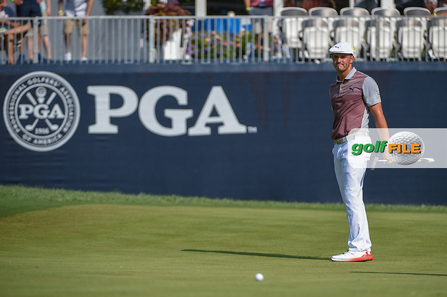 Bryson DeChambeau (USA) watches his putt on 9 during 2nd round of the 100th PGA Championship at Bellerive Country Club, St. Louis, Missouri. 8/11/2018.<br /> Picture: Golffile   Ken Murray<br /> <br /> All photo usage must carry mandatory copyright credit (© Golffile   Ken Murray)