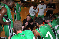 Jets coach Ryan Weisenberg talks to his team during a timeout. NBL  - Manawatu Jets  v Otago Nuggets at Arena Manawatu, Palmerston North, New Zealand on Sunday 5 June 2011. Photo: Dave Lintott / lintottphoto.co.nz