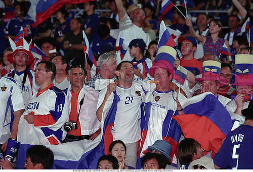 RUSSIAN FANS, Japan 1 v RUSSIA 0, Group H, World Cup 2002, Yokohama, Japan, 020609. Photo: Neil Tingle/Action Plus...football soccer association.International Internationals.crowd crowds supporters fans spectators.celebrations celebration celebrates celebrate celebrating joy