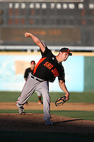 Jeff Soptic (25) of the San Jose Giants pitches during a game against the Rancho Cucamonga Quakes at LoanMart Field on August 30, 2015 in Rancho Cucamonga, California. Rancho Cucamonga defeated San Jose, 8-3. (Larry Goren/Four Seam Images)