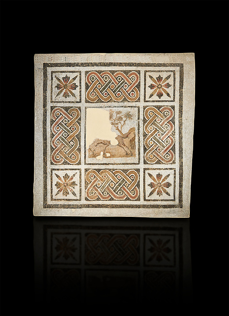 Pictures of a geometric Roman mosaics with strap work and cruciform flowers and in the centre a damaged depiction of a running deer, from the ancient Roman city of Thysdrus, Jilani Guirat area. 3rd century AD. El Djem Archaeological Museum, El Djem, Tunisia. Against a black background