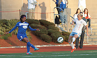 Boston Breakers forward Sydney Leroux (2) takes a shot. In a National Women's Soccer League Elite (NWSL) match, the Boston Breakers (blue) defeated Chicago Red Stars (white), 4-1, at Dilboy Stadium on May 4, 2013.