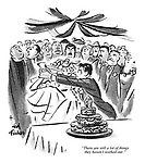 """There are still a lot of things they haven't worked out."" (a Punch cartoon shows a couple of newlyweds breaking into a fight before cutting the wedding cake)"