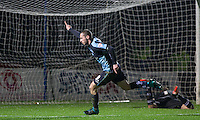 Michael Harriman of Wycombe Wanderers turns to celebrate making it 1-1 during the Sky Bet League 2 match between Wycombe Wanderers and Notts County at Adams Park, High Wycombe, England on 15 December 2015. Photo by Andy Rowland.