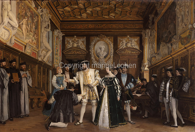 Francois I giving the titles and benefits of the Abbey of Saint-Martin to Rosso, oil painting on canvas, 1865, by Isidore Patrois, 1815-84, in the collection of the Depot du Fonds National d'Art Contemporain, in the Salle des Valois, with collections belonging to the Valois, especially Francois I, on the first floor of the Francois I wing, built early 16th century in Italian Renaissance style, at the Chateau Royal de Blois, built 13th - 17th century in Blois in the Loire Valley, Loir-et-Cher, Centre, France. The chateau has 564 rooms and 75 staircases and is listed as a historic monument and UNESCO World Heritage Site. Picture by Manuel Cohen