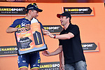 Actor Patrick Dempsey presents stage winner Caleb Ewan (AUS) Orica-Scott on the podium at the end of Stage 7 of the 100th edition of the Giro d'Italia 2017, running 224km from Castrovillari to Alberobello, Italy. 12th May 2017.<br /> Picture: LaPresse/Gian Mattia D'Alberto | Cyclefile<br /> <br /> <br /> All photos usage must carry mandatory copyright credit (&copy; Cyclefile | LaPresse/Gian Mattia D'Alberto)