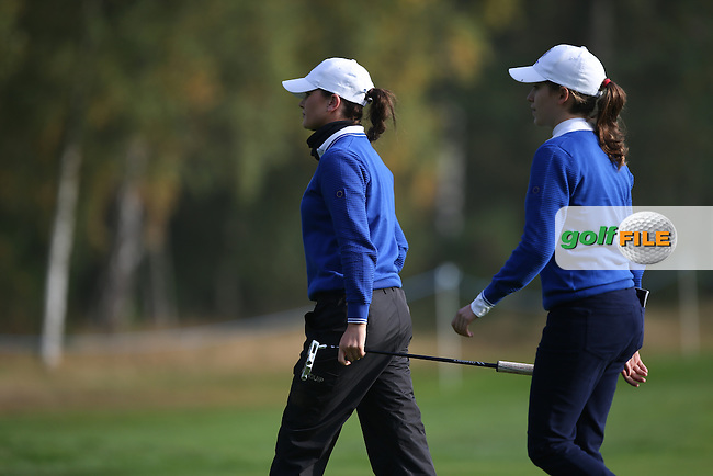 Match 6 action with Team Europe's Virgina Elena Carta (ITA) and Annabel Dimmock (ENG) playing Sierra Brooks and Kristen Gillman from the USA in the Foursomes of the 2014 JUNIOR RYDER CUP at the Blairgowrie Golf Club, Perthshire, Scotland. Picture:  David Lloyd / www.golffile.ie