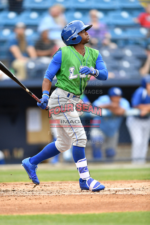 Lexington Legends left fielder Rudy Martin (25) swings at a pitch during a game against the Asheville Tourists at McCormick Field on May 29, 2017 in , North Carolina. The Legends defeated the Tourists 6-2. (Tony Farlow/Four Seam Images)