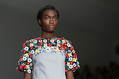 London, UK. 13 September 2014. A model walks the runway at the Holly Fulton show at London Fashion Week SS15 at the BFC Courtyard Show Space at Somerset House in London, England. Photo: CatwalkFashion/Alamy Live News
