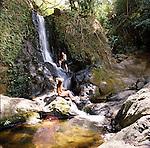 Makamakaole Falls on the rugged North shore of West Maui, Hawaii, USA