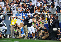 06 September 2014:  Penn State TE Jesse James (18) celebrates after his second touchdown of the game. The Penn State Nittany Lions defeated the Akron Zips 21-3 at Beaver Stadium in State College, PA.