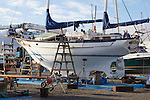 Port Townsend, sailboat, ketch rigged, Lucinda, Kodiak, Alaska, hauled out, boat repair, Port of Port Townsend, Boat Haven, Jefferson County, Olympic Peninsula, Pacific Northwest, Washington State, USA,