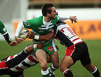 Manawatu winger Andre Taylor looks for support in the tackle during the Air NZ Cup rugby match between Manawatu Turbos and Counties-Manukau Steelers at FMG Stadium, Palmerston North, New Zealand on Sunday, 2 August 2009. Photo: Dave Lintott / lintottphoto.co.nz