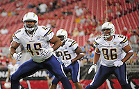 Aug. 22, 2009; Glendale, AZ, USA; San Diego Chargers tight end (49) Charles Davis and tight end (86) Brandon Manumaleuna against the Arizona Cardinals during a preseason game at University of Phoenix Stadium. Mandatory Credit: Mark J. Rebilas-