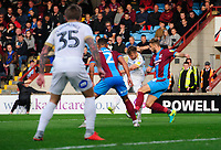 Peterborough United's Matthew Godden scores his side's second goal <br /> <br /> Photographer Chris Vaughan/CameraSport<br /> <br /> The EFL Sky Bet League One - Scunthorpe United v Peterborough United - Saturday 13th October 2018 - Glanford Park - Scunthorpe<br /> <br /> World Copyright &copy; 2018 CameraSport. All rights reserved. 43 Linden Ave. Countesthorpe. Leicester. England. LE8 5PG - Tel: +44 (0) 116 277 4147 - admin@camerasport.com - www.camerasport.com