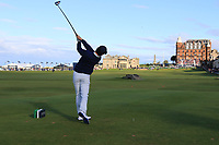 Rory McIlroy (NIR) on the 18th tee during Round 3 of the Alfred Dunhill Links Championship 2019 at St. Andrews Golf CLub, Fife, Scotland. 28/09/2019.<br /> Picture Thos Caffrey / Golffile.ie<br /> <br /> All photo usage must carry mandatory copyright credit (© Golffile | Thos Caffrey)