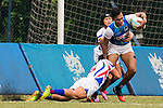 Buddima Bushna Piyarathna Nanayakkara Kudachchige (r) of Sri Lanka battles for the ball against Po-han Wu (l) of Chinese Taipei during the match between Sri Lanka and Chinese Taipei of the Asia Rugby U20 Sevens Series 2016 on 12 August 2016 at the King's Park, in Hong Kong, China. Photo by Marcio Machado / Power Sport Images