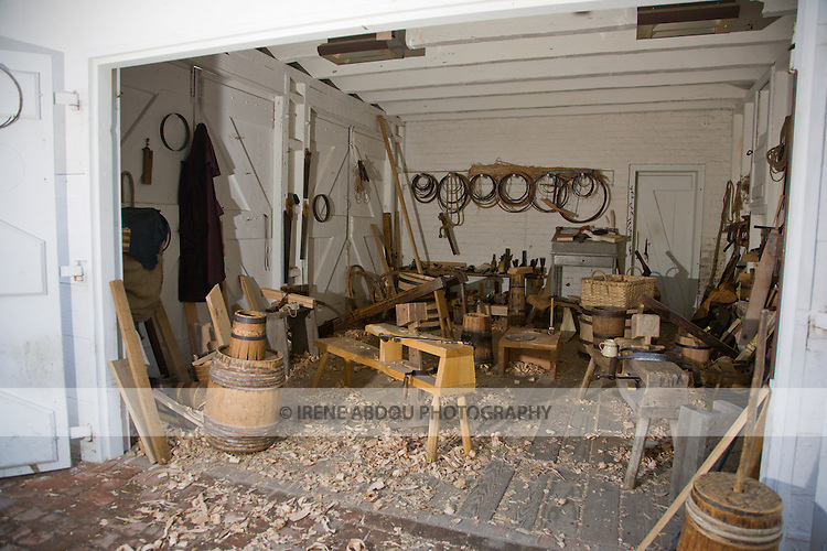 Cooper's workshop at Colonial Williamsburg, Virginia.