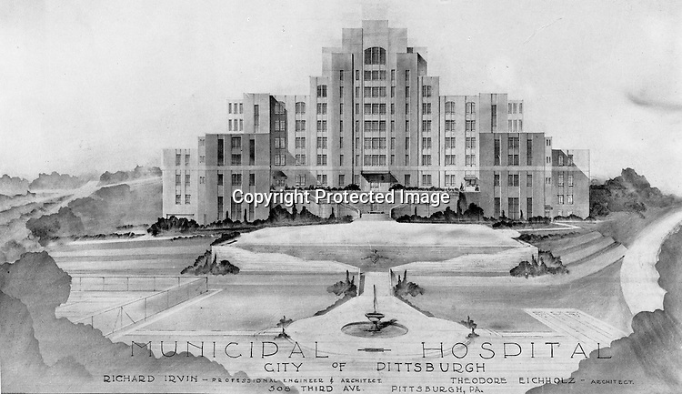 Pittsburgh PA:  Architect's rendering of the Municipal Hospital in the Oakland section of Pittsburgh  - 1941.  The main structure of Salk Hall is the former city owned Pittsburgh Municipal Hospital for Contagious Diseases constructed in 1941 on land the university had given to the city.