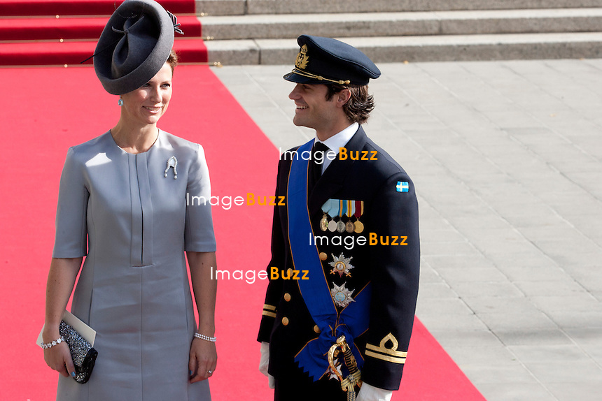 Prince Karl Philippe of Sweden ; Crown Prince Guillaume of Luxembourg and Countess Stéphanie de Lannoy, Royal Religious wedding,, at the Cathedral of Our Lady of Luxembourg. October 20, 2012.