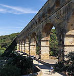 VMI Vincentian Heritage Tour: Members of the Vincentian Mission Institute cohort visit the Pont du Gard aqueduct, an ancient Roman waterway that crosses the Gardon River in southern France, Monday, June 27, 2016. (DePaul University/Jamie Moncrief)
