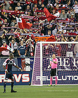 New England Revolution goalkeeper Matt Reis (1) sets the players for a free kick.  The New England Revolution played to a 1-1 draw against the Houston Dynamo during a Major League Soccer (MLS) match at Gillette Stadium in Foxborough, MA on September 28, 2013.