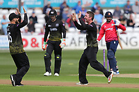 Tom Smith of Gloucestershire celebrates taking the wicket of Ravi Bopara during Essex Eagles vs Gloucestershire, Royal London One-Day Cup Cricket at The Cloudfm County Ground on 7th May 2019